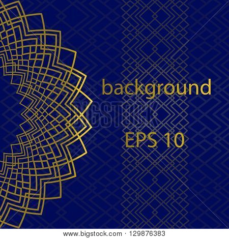 Blue background with gold ornament and pattern in East style with place for text. Can be used for packaginginvitations decorationbag template.Vector illustration. EPS 10.