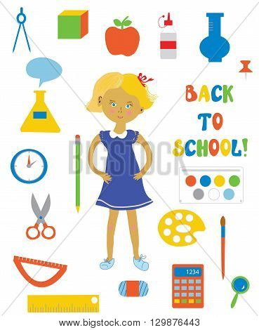 Back to school supplies and girl set. Funny design flat style in vector