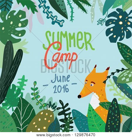 Summer forest camp banner or placard background with nature and trees. Funny vector design illustration