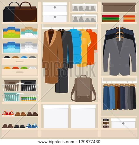 Clothes wardrobe vector illustration. Wardrobe room with mens cloths in flat style