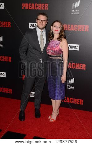 LOS ANGELES - MAY 14:  Seth Rogen, Lauren Miller at the Preacher Premiere Screening at the Regal 14 Theaters on May 14, 2016 in Los Angeles, CA