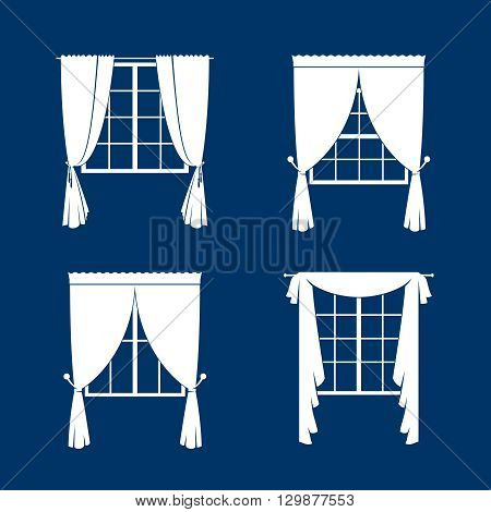 Window curtains set. White curtans and windows silhouette on blue vackground. Vector illustration