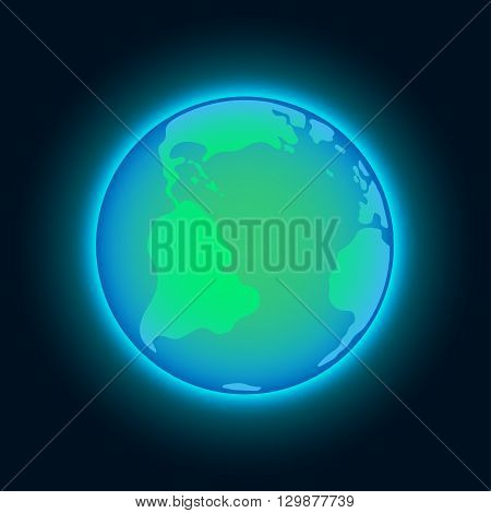Earth in outer space. Earth on the space background. Cosmic background with Earth. Planet in universe, stock vector.