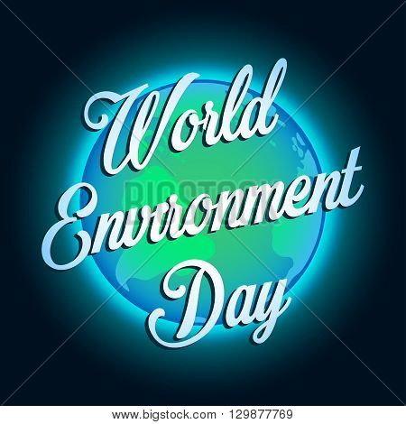 Earth in outer space. World Environment Day illustration. Vector EPS10.