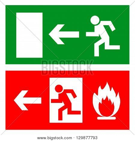 Emergency fire exit door and exit door sign with human figure