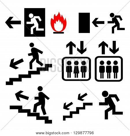 Vector emergency exit signs set. Vector illustration.