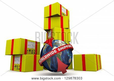 Worldwide shipping. Concept. Many of yellow parcels and a globe with inscription