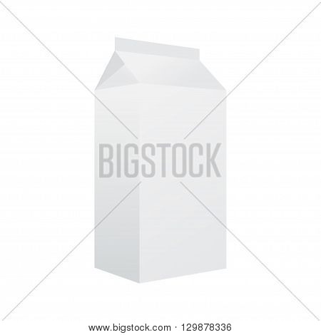 White Packaging Isolated On A White Background. Box. Milk. Kefir.