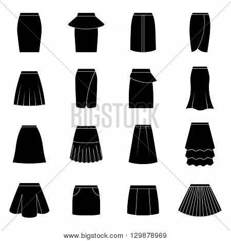 Set of black skirts on white background, vector illustration
