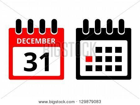 31 December calendar icon on a white background. Vector illustration.