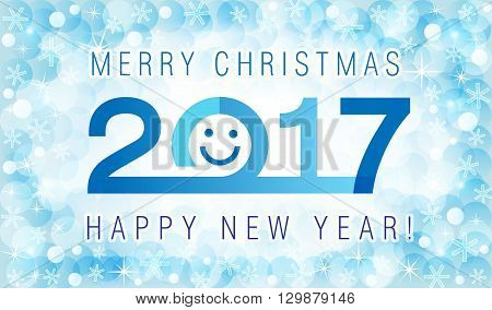 Merry Christmas and Happy New Year 2017 smiling face card. The logo of 2017 on abstract background with snowflakes.