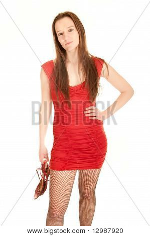 Portrait Of A Sexy Young Woman In Red Dress