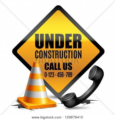 Under construction sign with road cone and phone handset