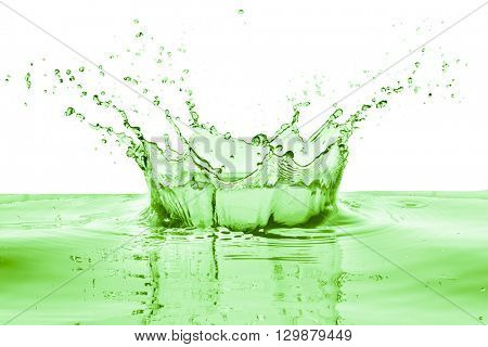 green liquid splash on white background