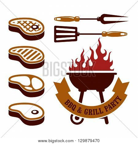 Barbecue (bbq) party - steaks grill elements