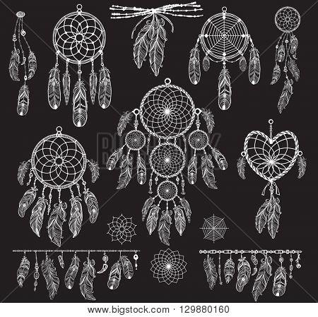 Set of Dreamcatchers on black