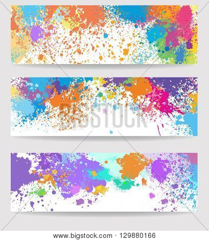 Set of three banners made of paint stains