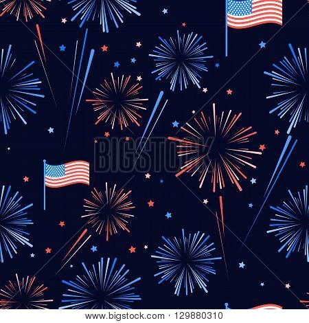 Fireworks and stars in American national flag colors. Seamles pattern for US Independence Day 4th of July. Vector illustration on dark blue background