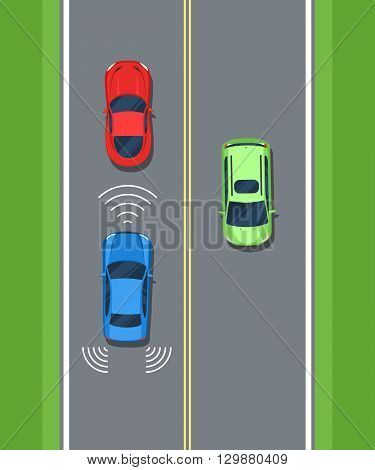 Smart car, safety. Remote sensing system of vehicle. Color Flat style vector illustration background for web design or print