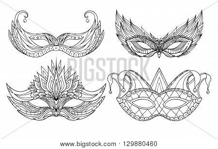 Set of hand-drawn doodle face holiday masks. Festival Mardi Gras masquerade.
