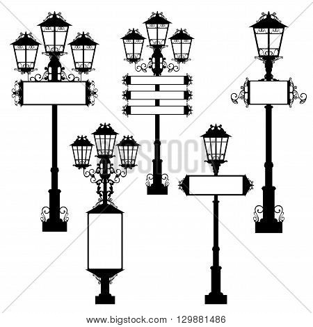 street lights with blank signs - black and white vector design set