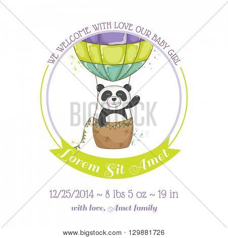 Baby Shower or Arrival Card - Baby Panda and Air balloon- in vector
