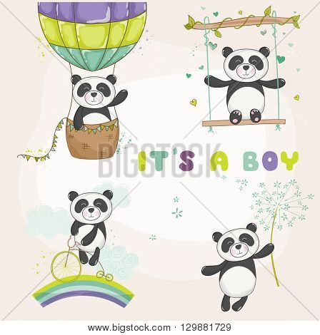 Baby Panda Set - Baby Shower or Arrival Card - in vector