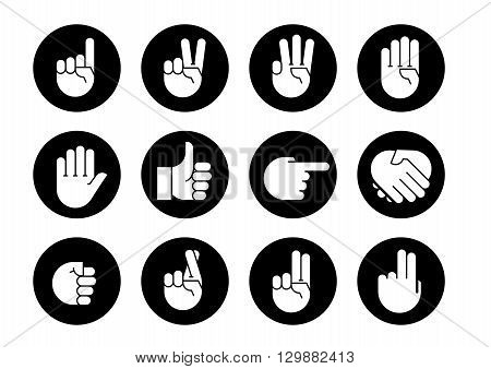 Hand gestures. Set icons. Flat style vector icons emblem symbol For Your Design