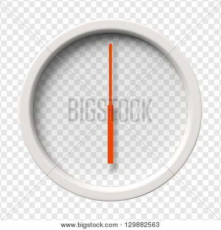 Realistic Wall Clock. Six o'clock am or pm. Transparent face. Red hands. Ready to apply. Graphic element for documents, templates, posters, flyers. Vector illustration