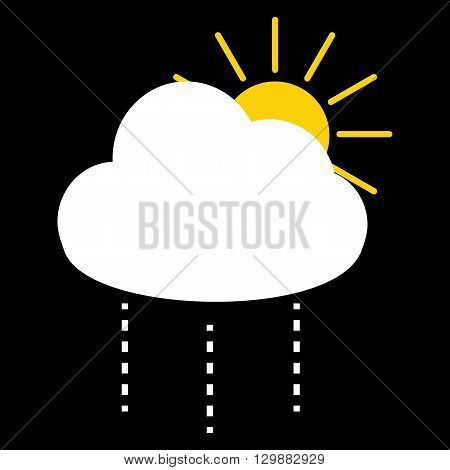 Sun and white rain cloud icon for weather forecast on black background