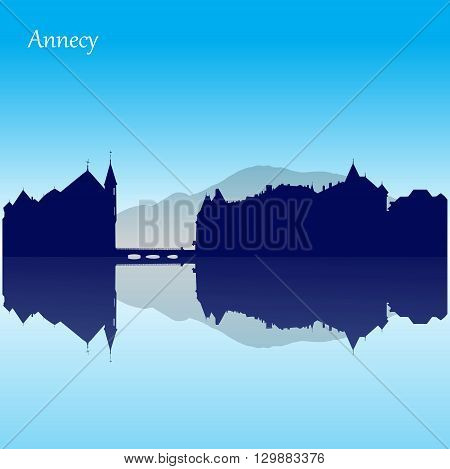Vector silhouette skyline of  old town of Annecy - France