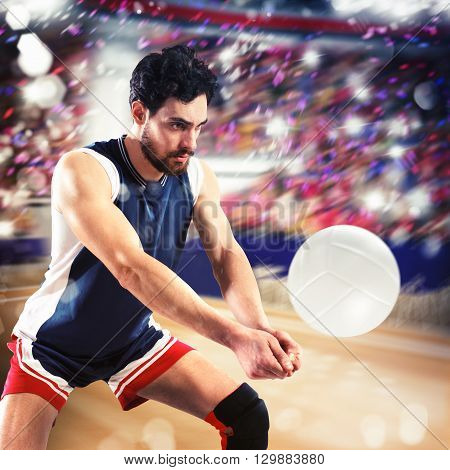 Volleyball man player hits the ball flexing