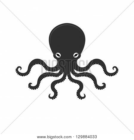 Big octopus vector illusrtation, sea monster, underwater food, bright and beautiful business logo, black and white vector illustration