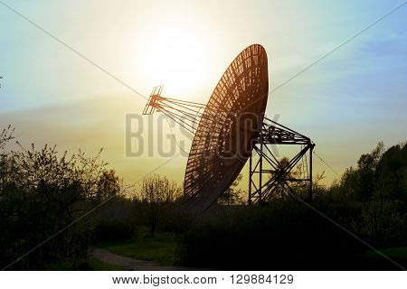 May 7 2016. Saint-Petersburg.Antenna radio telescope of the Pulkovo Observatory at sunset in St. Petersburg.Russia.