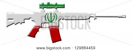 Fighting and Conflict in Iran An outline of an assault rifle with the flag of Iran isolated on white, 3D Illustration