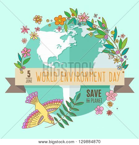 World environment day concept with mother earth globe and green leaves and flowers on mint background. With an inscription Save the Planet, 5 June. Vector Illustration.