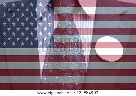 Businessman in suit with blank badges and american flag concept of American election