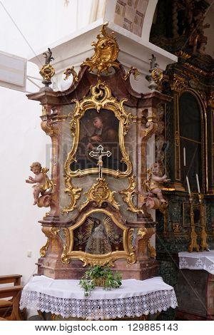 URSBERG, GERMANY - JUNE 09: Saint John of Nepomuk altar in the monastery church of St. John in Ursberg, Germany on June 09, 2015.