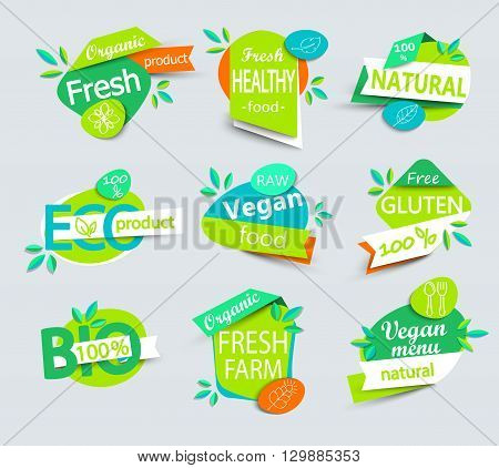 Modern vector set of healthy organic food labels, tags, emblems, logo for meal and drink, cafe, restaurants and organic products packaging.Vector illustration.