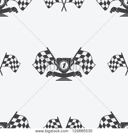 Checkered Flag Or Racing Flags Icon Seamless Pattern First Place Prize Cup And Finish Ribbon. Sport
