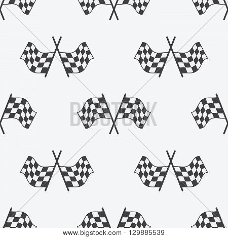 Checkered Flag Seamless Pattern, Racing Flags Icon And Finish Ribbon. Sport Auto, Speed And Success,