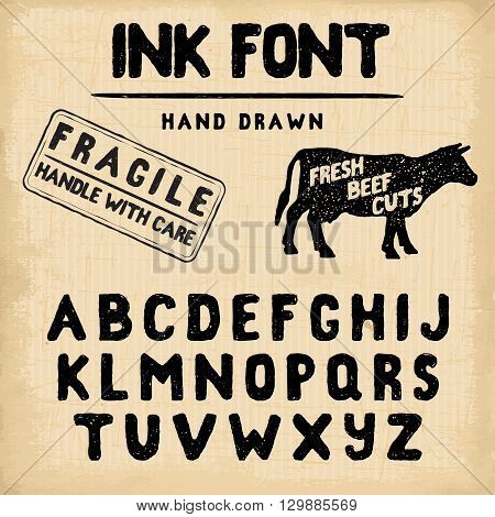 Hand Made Ink stamp font. Handwritten alphabet. Vintage retro textured hand drawn typeface with grunge effect good for custom logo or emblrm. Vector illustration. on retro paper background.