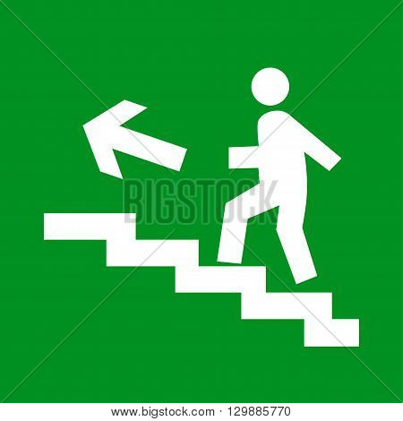 Fire emergency exit signs on a green background, vector illustration