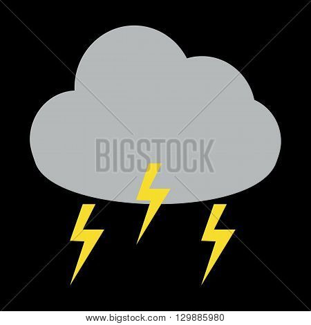 Thunder storm cloud icon on black background