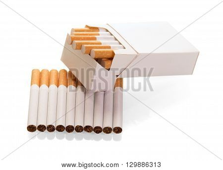 Opened pack of cigarettes close-up isolated on white background.