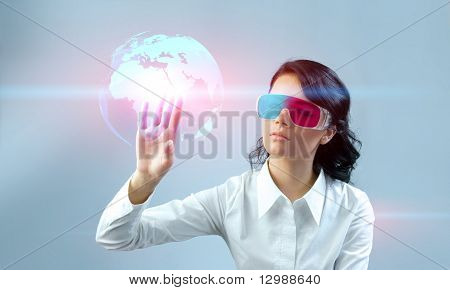 Fascinating brunette wearing 3d anaglyph stereo glasses