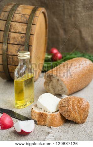 Octave bread vegetable oil and cheese are on sacking