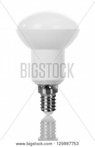 Energy-saving LED light bulb isolated on white background.