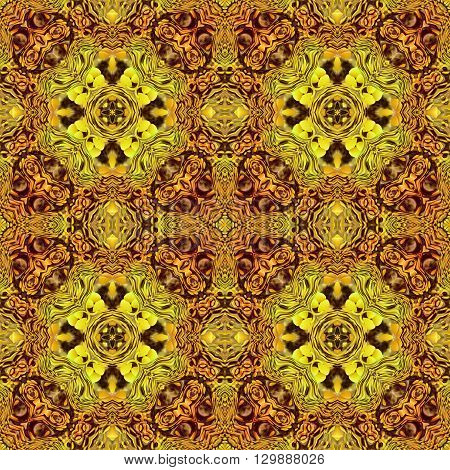 Computer generated illustration with gold abstract kaleidoscope pattern.