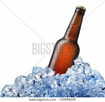 Bottle of beer in ice isolated on white